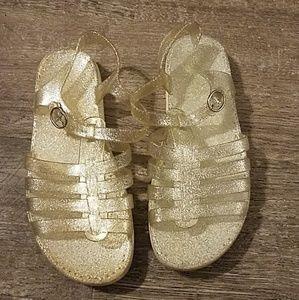 Vintage 90s Silver Glitter Jelly Sandals Size 6